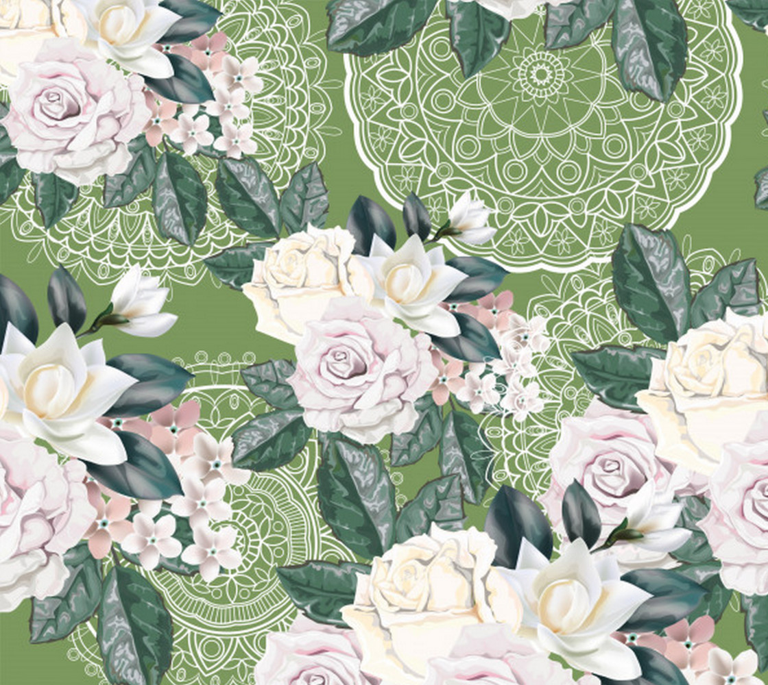 White Roses on Lace Miniature #1