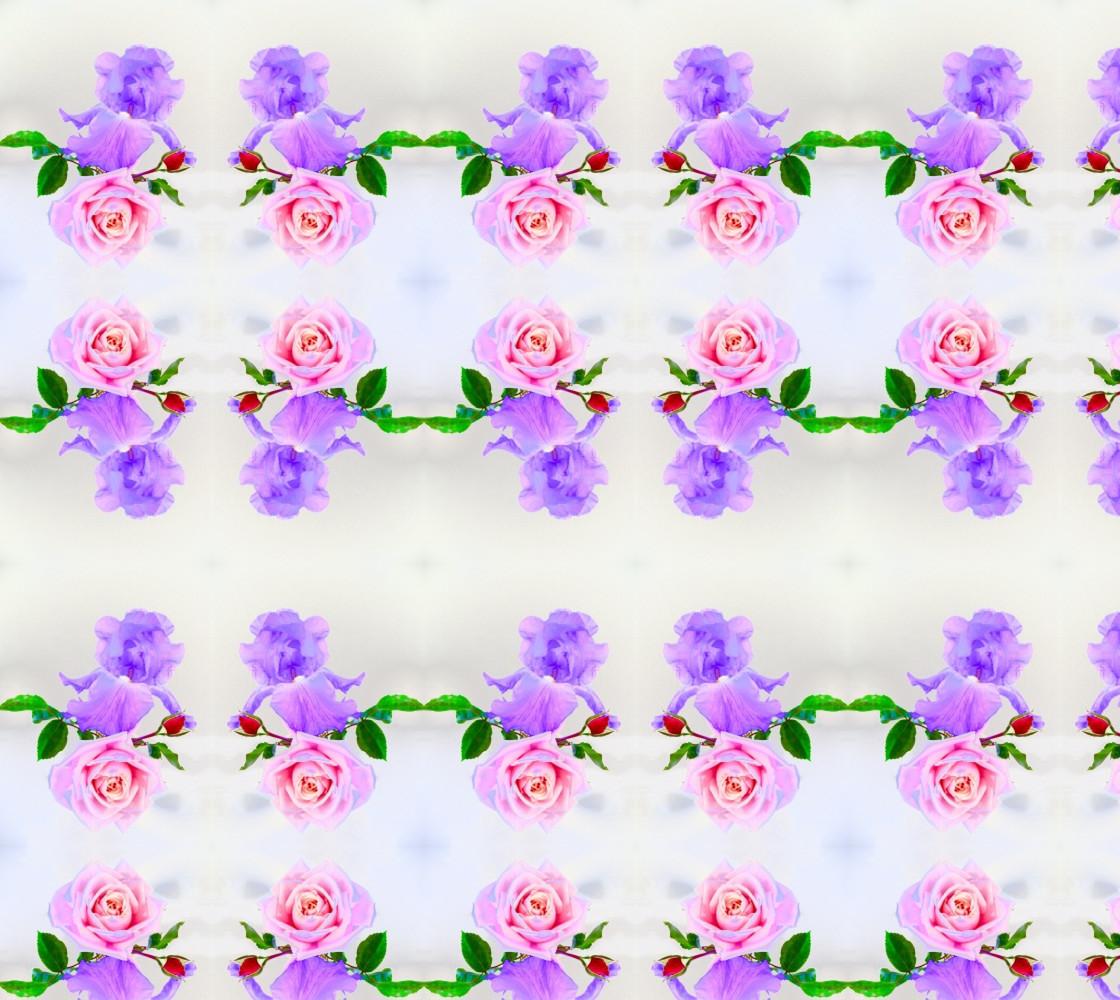 Dancing Purple Iris Pink Rose thumbnail #1
