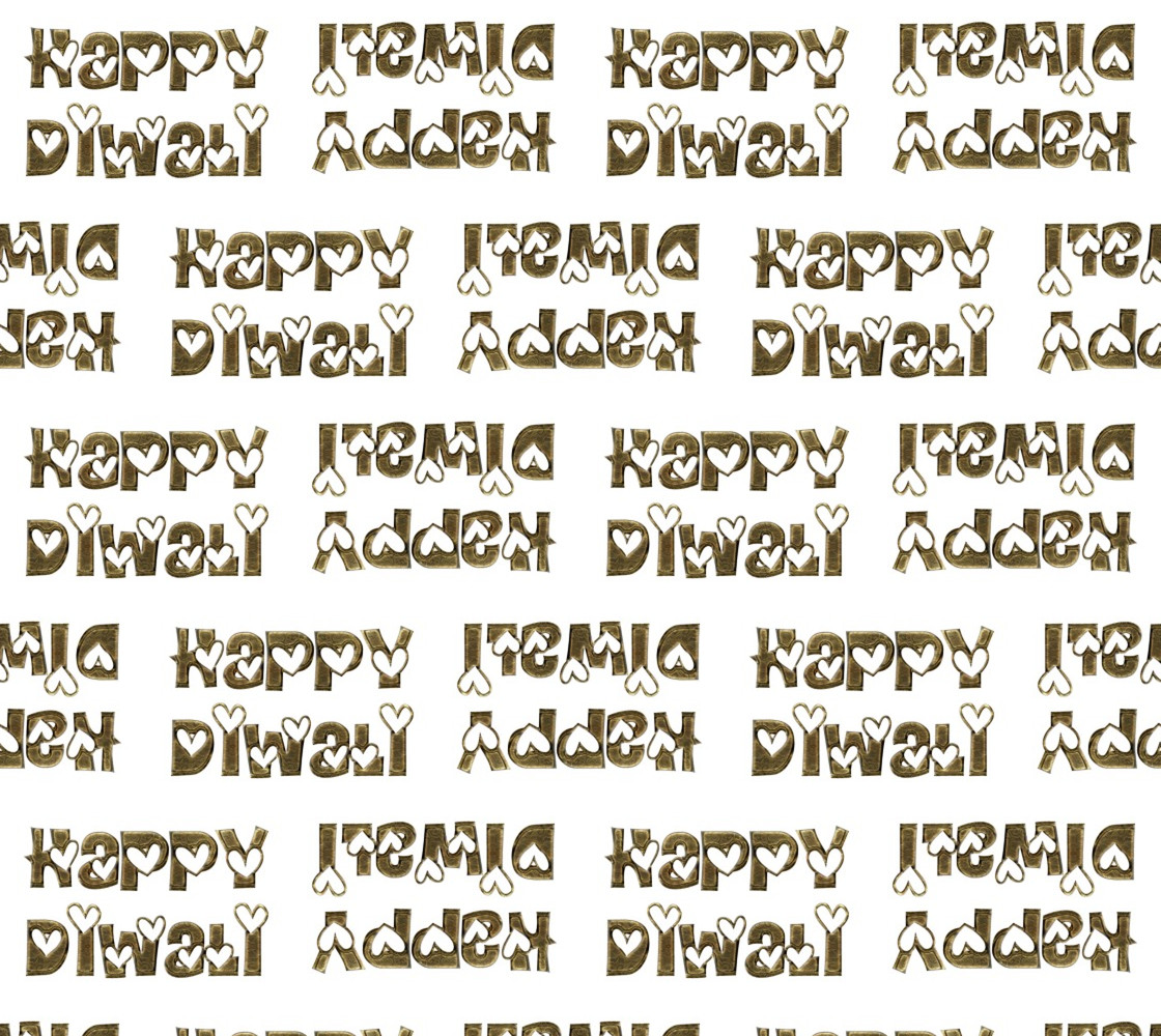 Festival of Lights Happy Diwali Greeting Typography Fabric Miniature #1