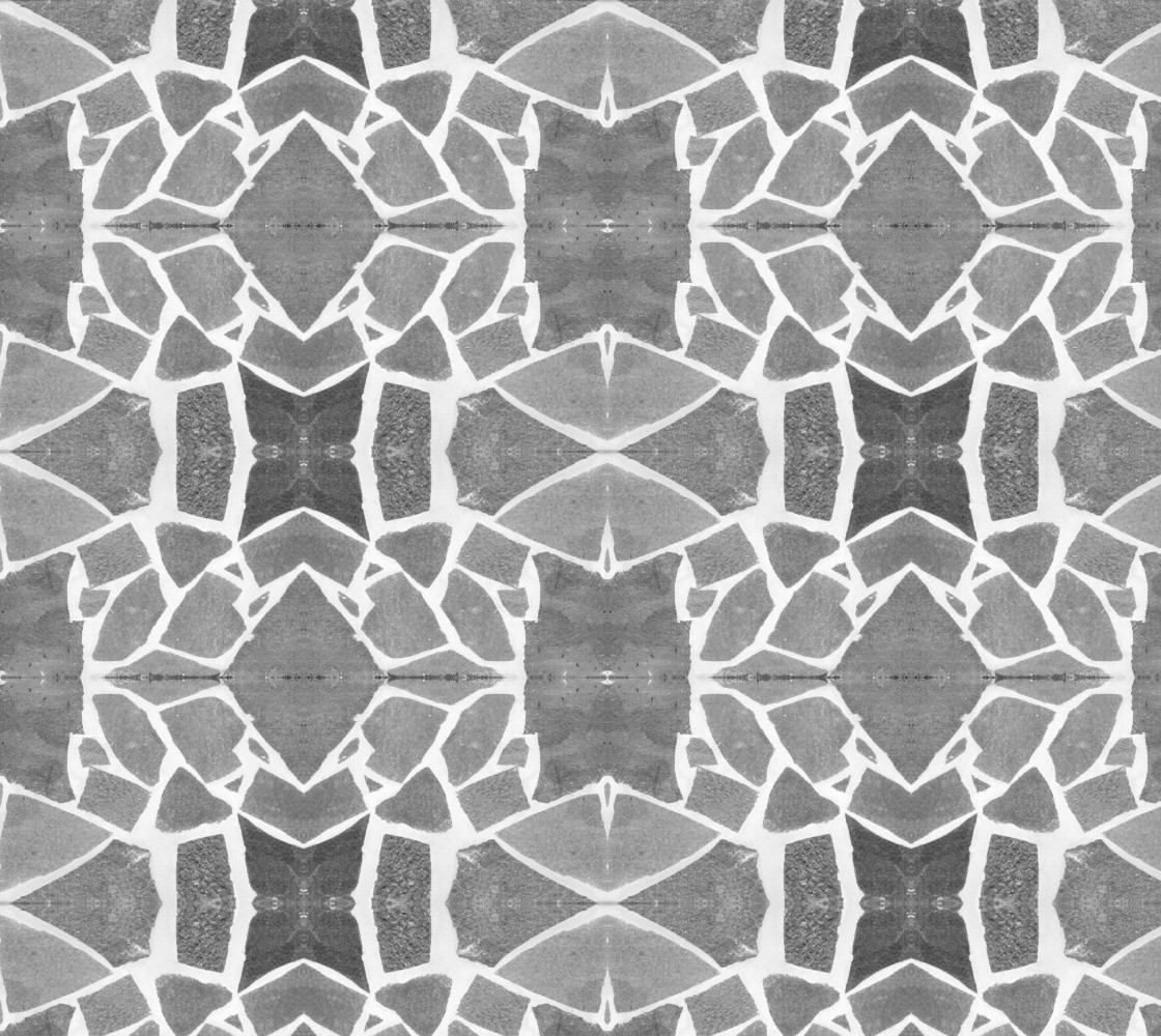 Gray White Stone Mosaic Pattern Fabric Miniature #1