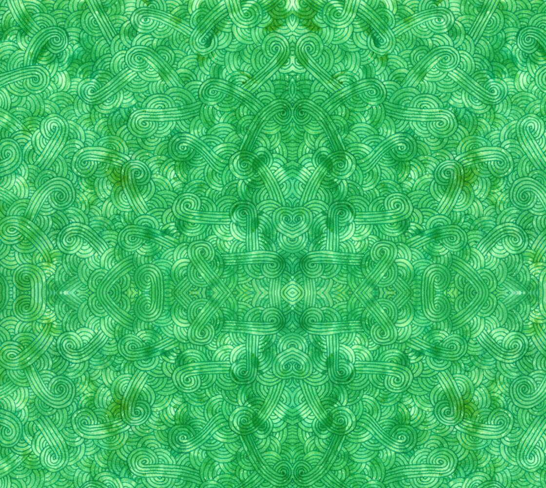 Green swirls doodles Fabric Miniature #1