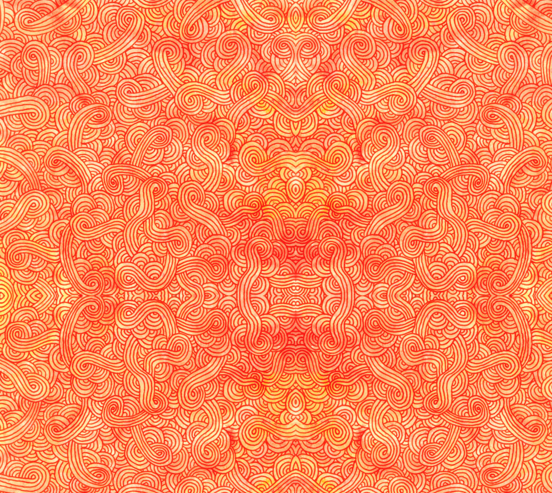 Orange and red swirls doodles Fabric Miniature #1