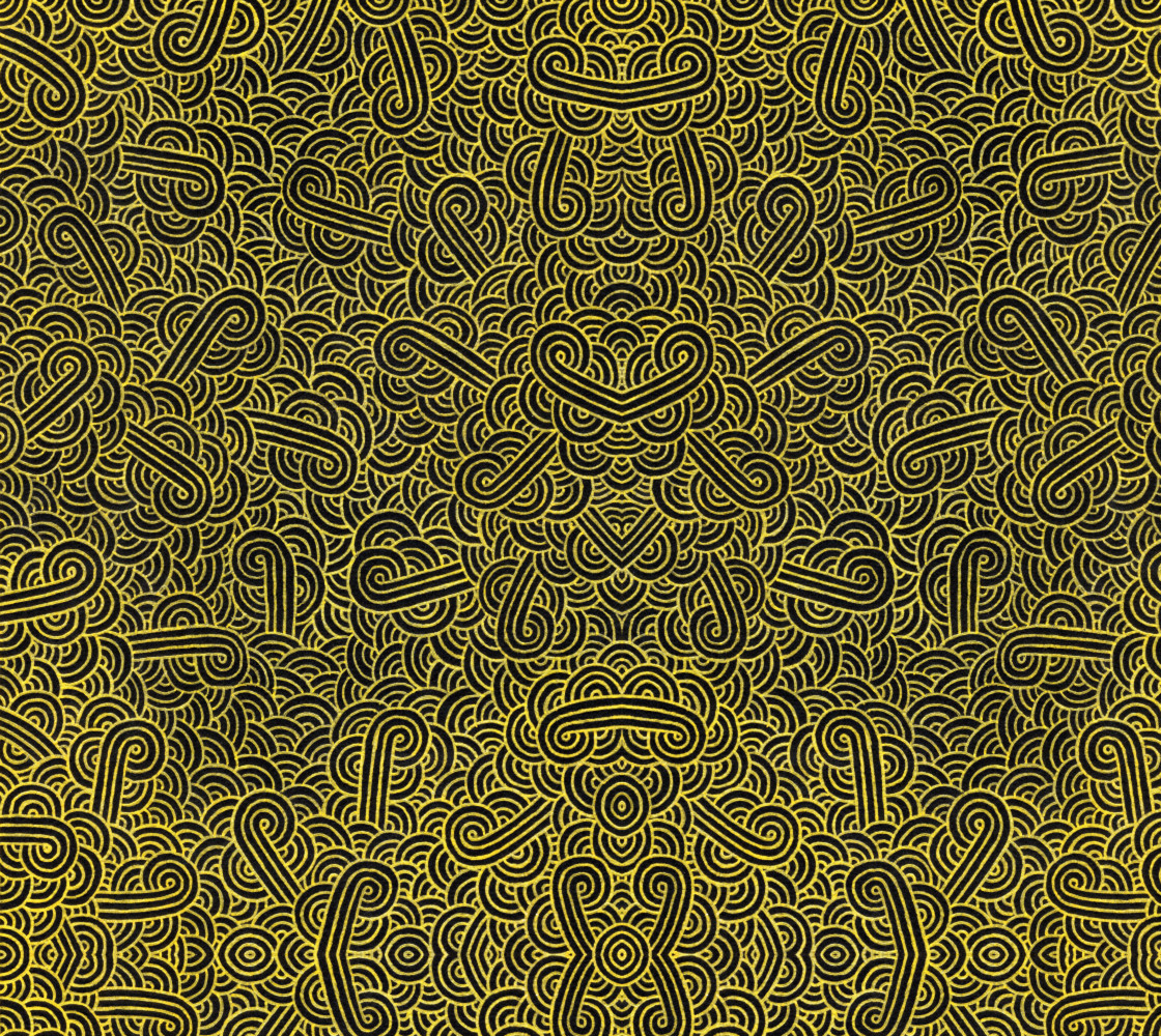 Faux gold and black swirls doodles Fabric thumbnail #1