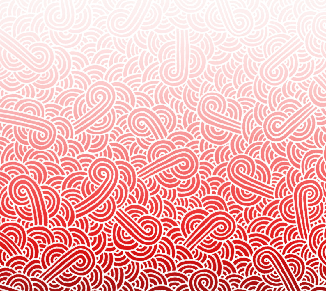 Ombre red and white swirls doodles Fabric thumbnail #1