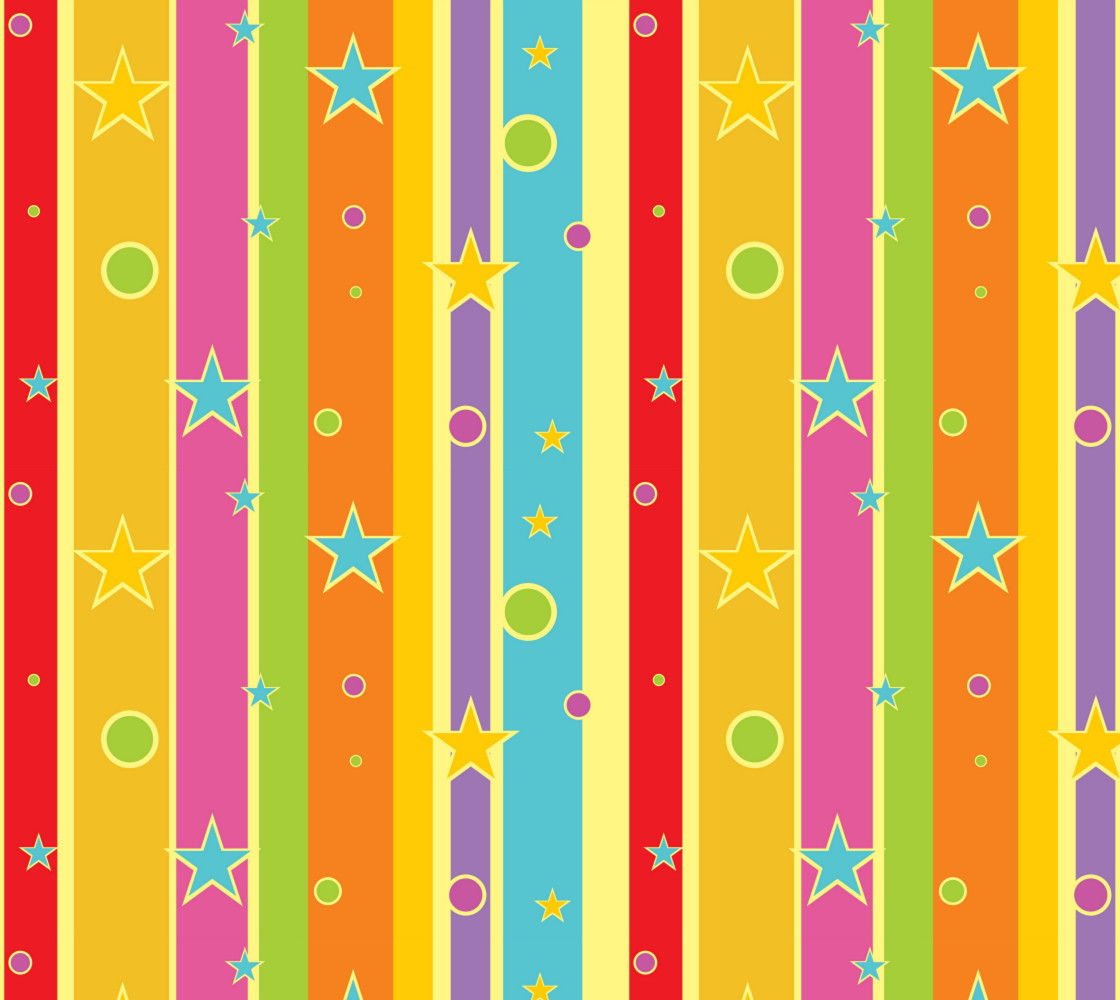 Colorful Stripes with Bright Stars and Circles Miniature #1