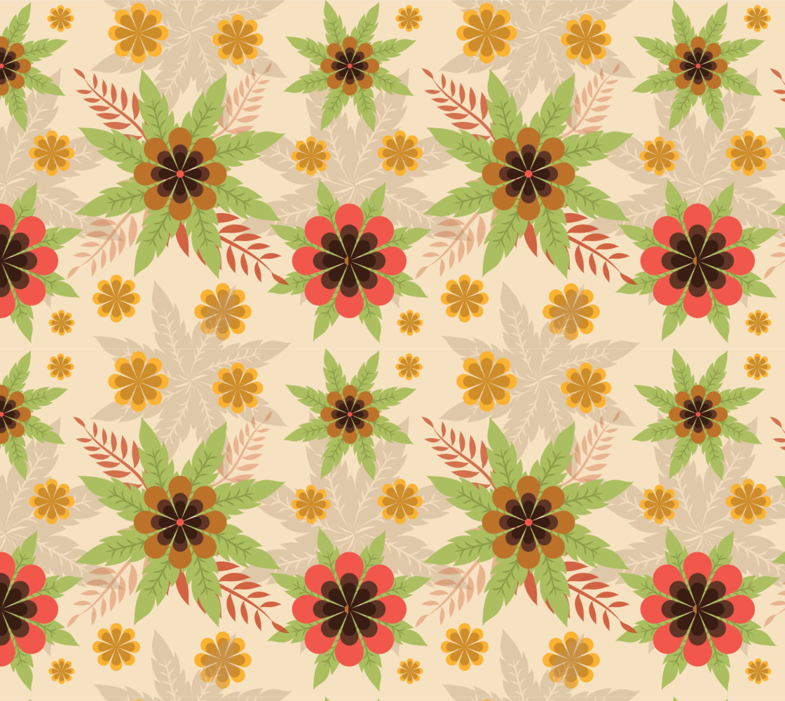 Lovely Retro Inspired Fall Floral Miniature #1