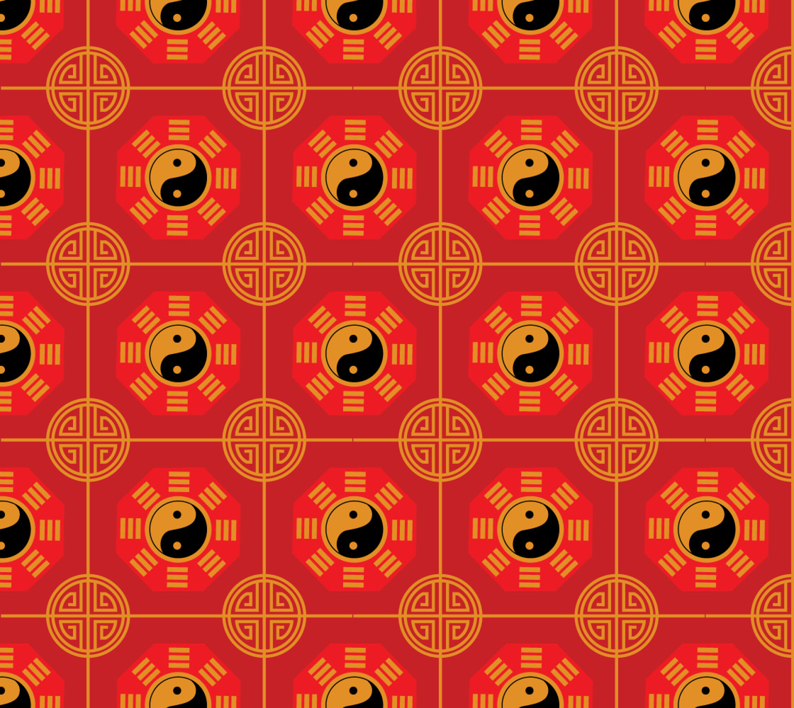 Chinese, Yin Yang, Colors: Red, Gold, Black Miniature #1