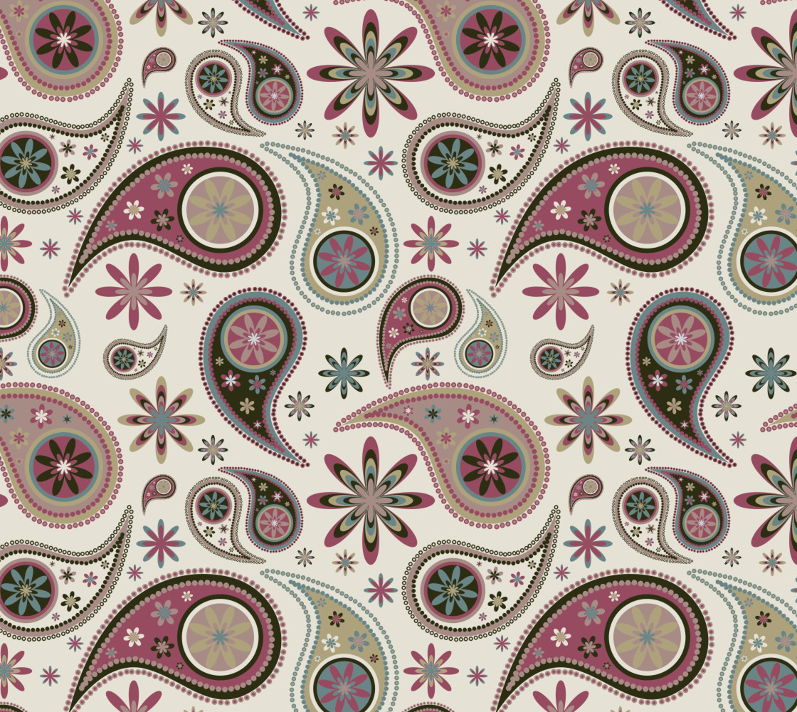 Retro Paisley and Floral Miniature #1