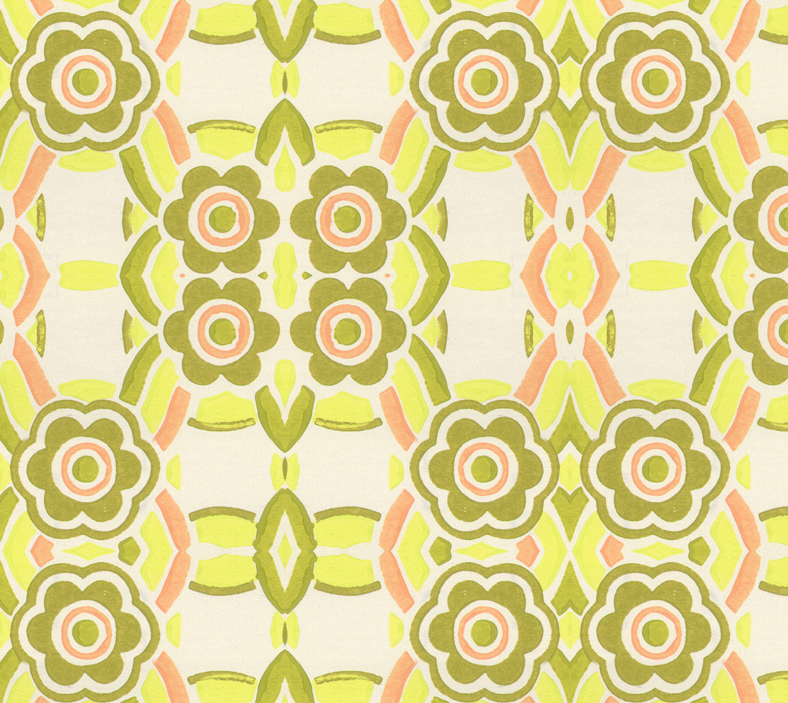 Flowers in Green and Orange Fabric thumbnail #1