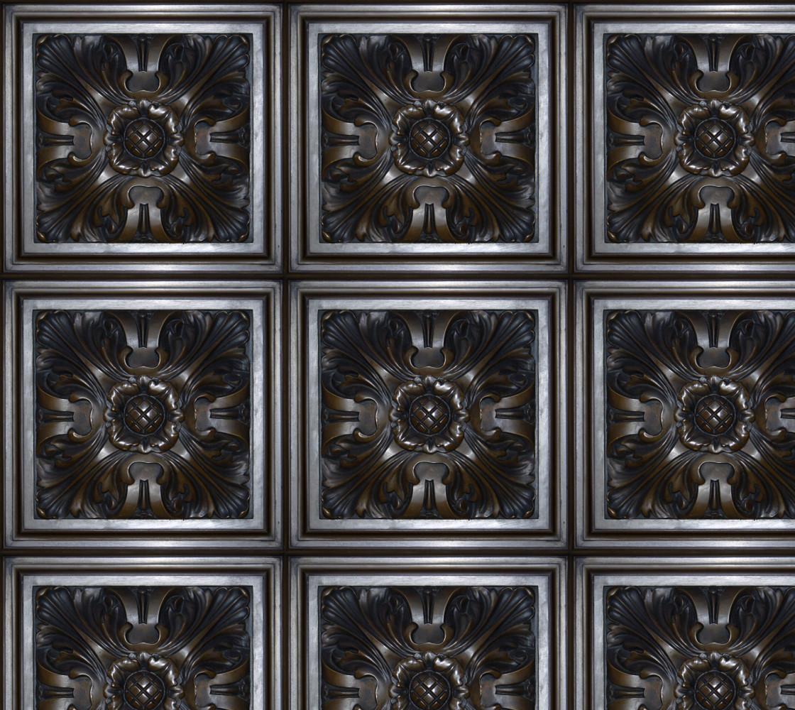 Dark Flower Tile Fabric thumbnail #1