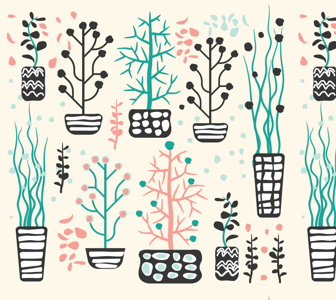 Retro Plants - Potted Plants in Pink and Aqua Miniature #1