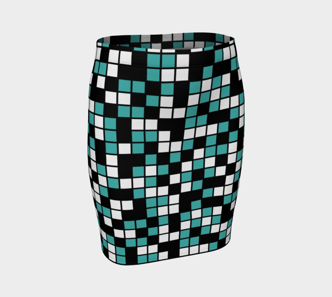 Aperçu de Verdigris, Black, and White Random Mosaic Squares #1