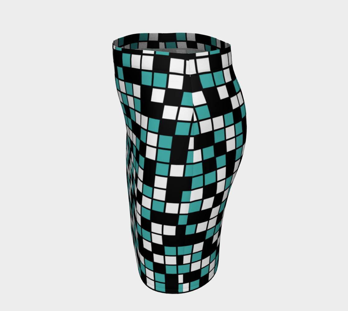 Aperçu de Verdigris, Black, and White Random Mosaic Squares #2