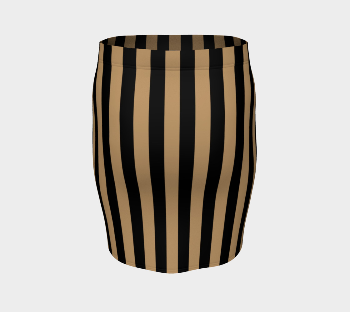 Black and Camel Brown Vertical Stripes Miniature #5