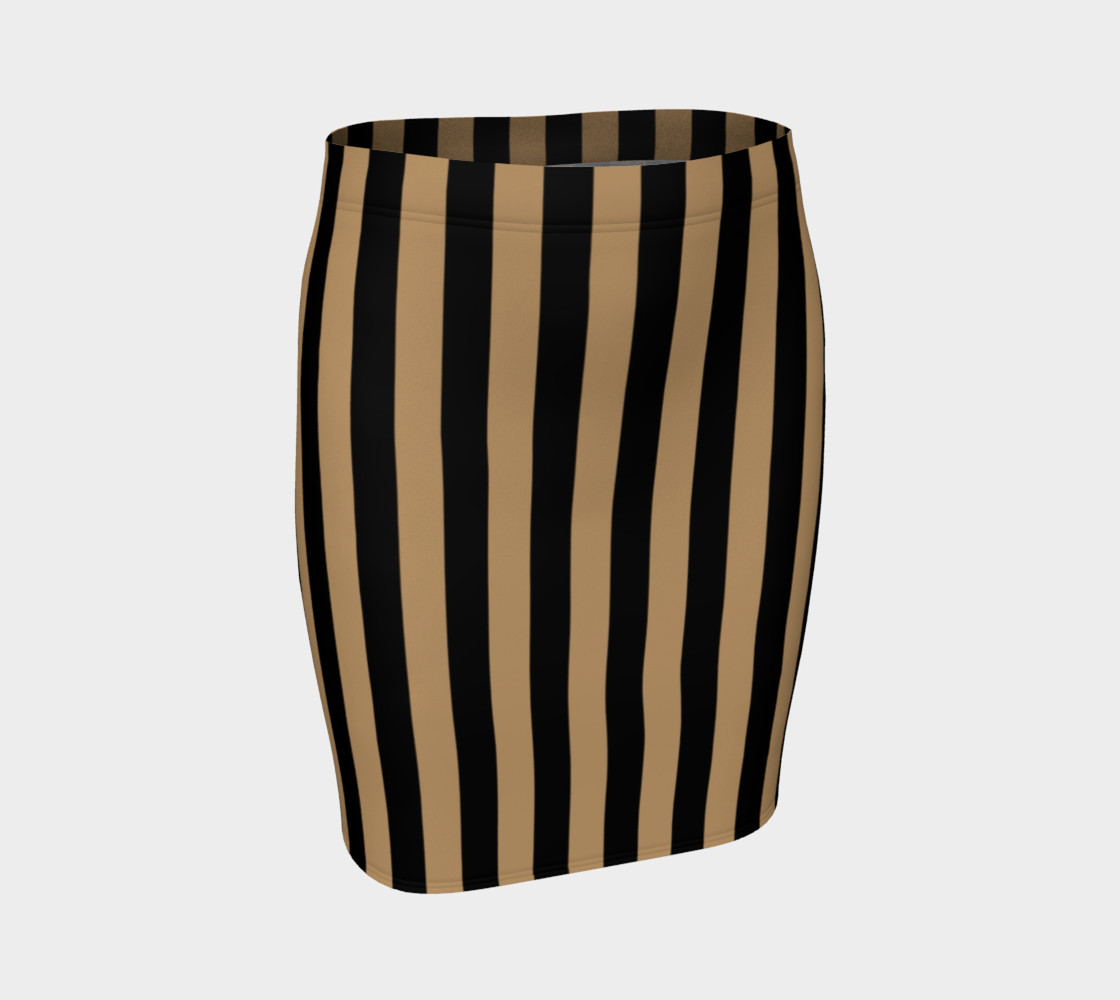 Black and Camel Brown Vertical Stripes Miniature #2