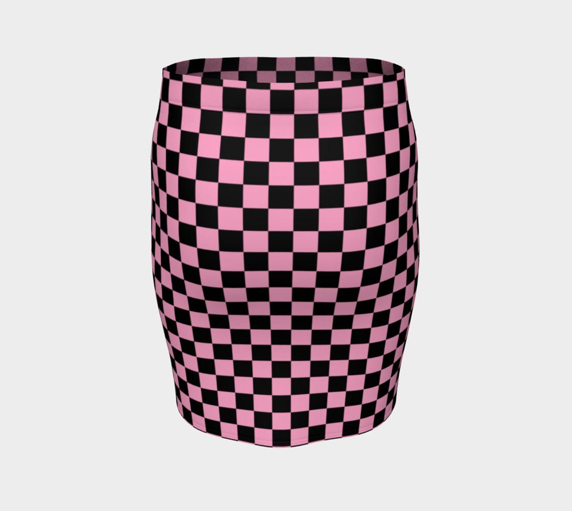 Aperçu de Black and Carnation Pink Checkerboard Squares #4