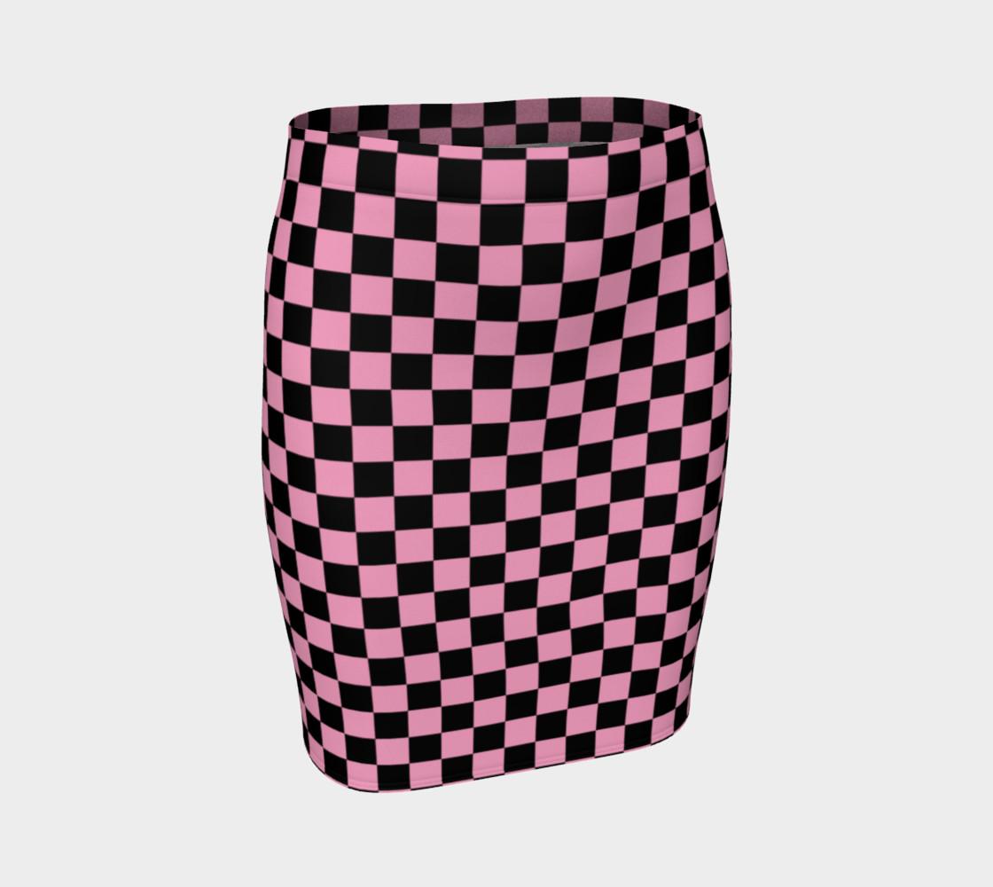 Aperçu de Black and Carnation Pink Checkerboard Squares #1