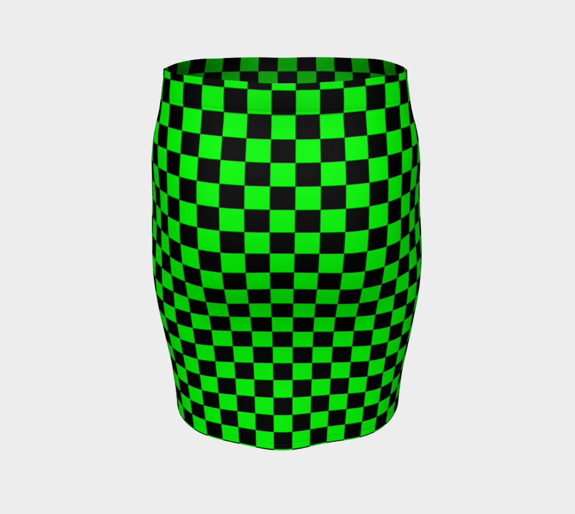 Black and Lime Green Checkerboard Squares Miniature #5