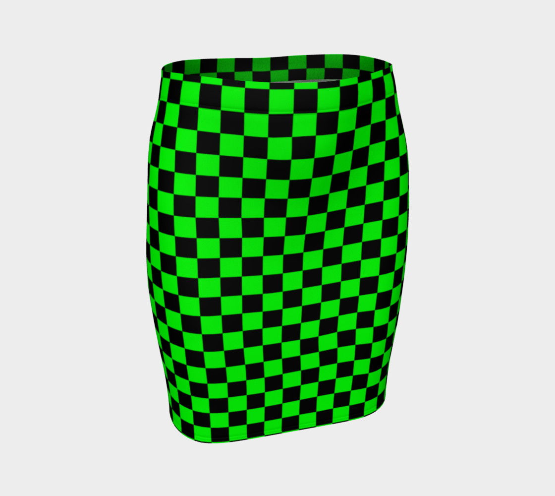Aperçu 3D de Black and Lime Green Checkerboard Squares