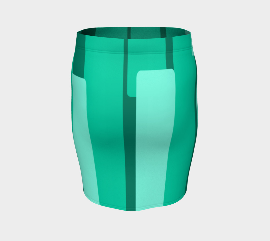 Teal Ocean Fitted Skirt preview #4