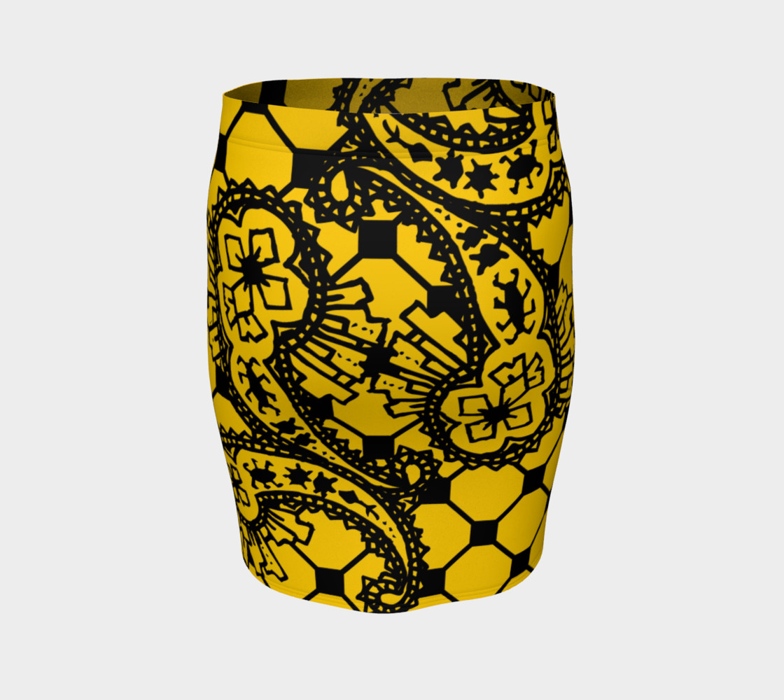 Yellow Grid Paisley Pattern Minton Black Yellow Tile Pattern Paisley Henna Art preview #4