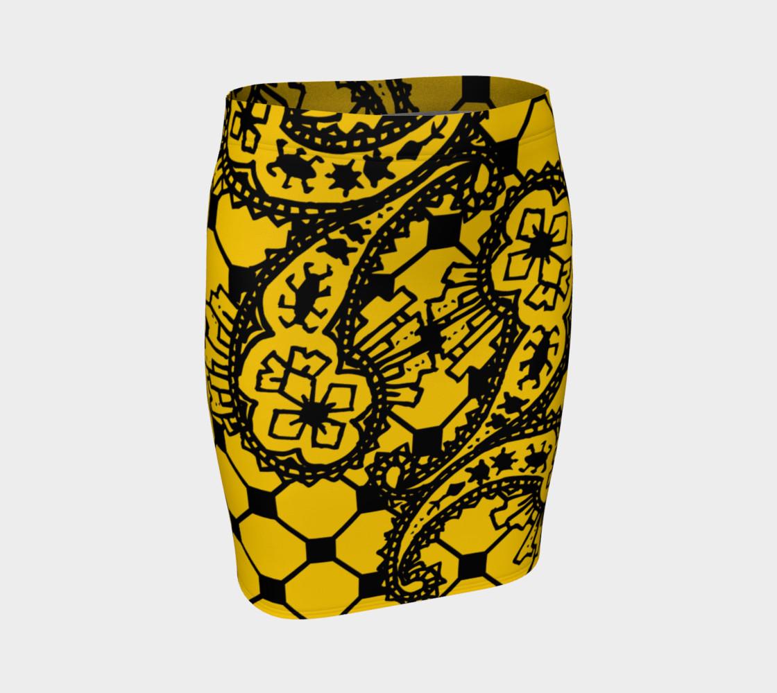 Yellow Grid Paisley Pattern Minton Black Yellow Tile Pattern Paisley Henna Art preview #1