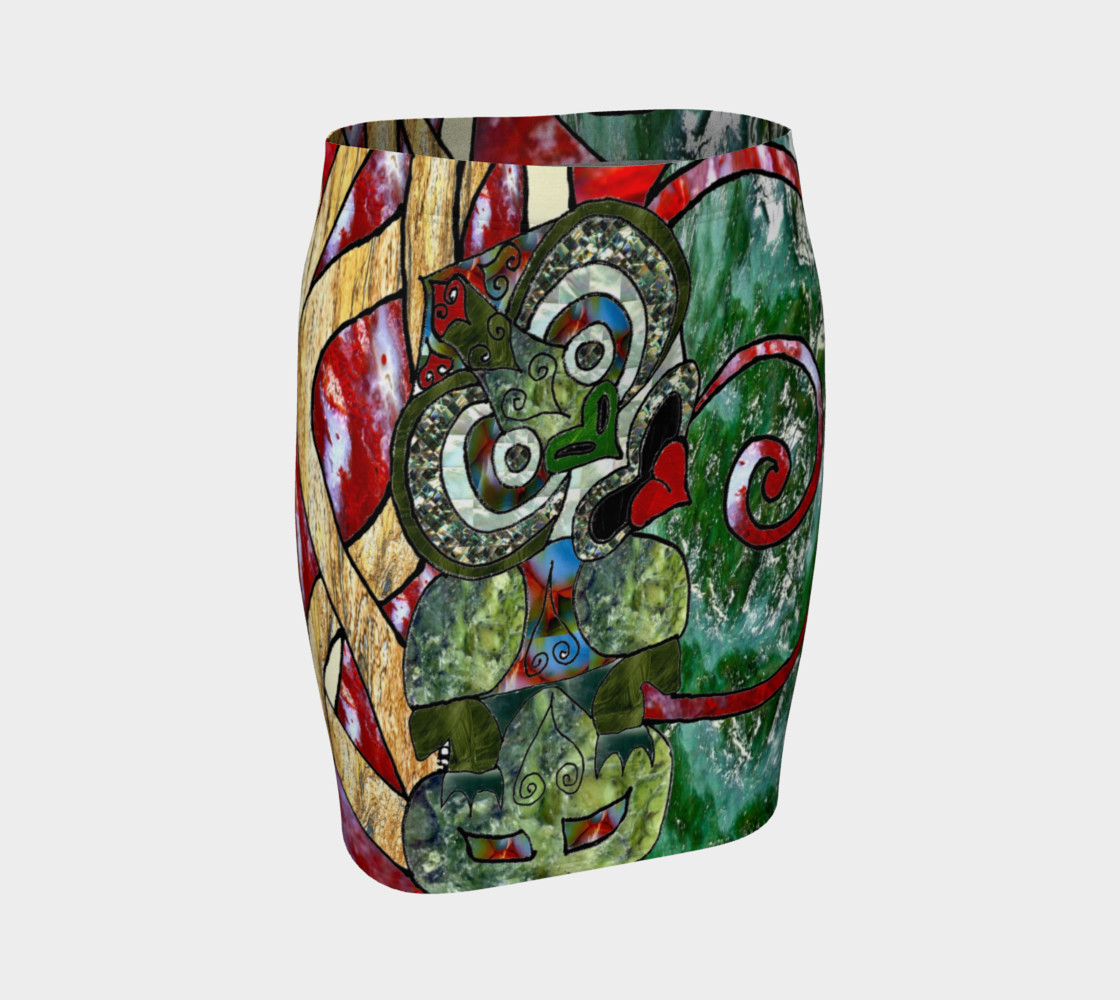 New Zealand Tiki Art Print Fitted Skirt preview #1