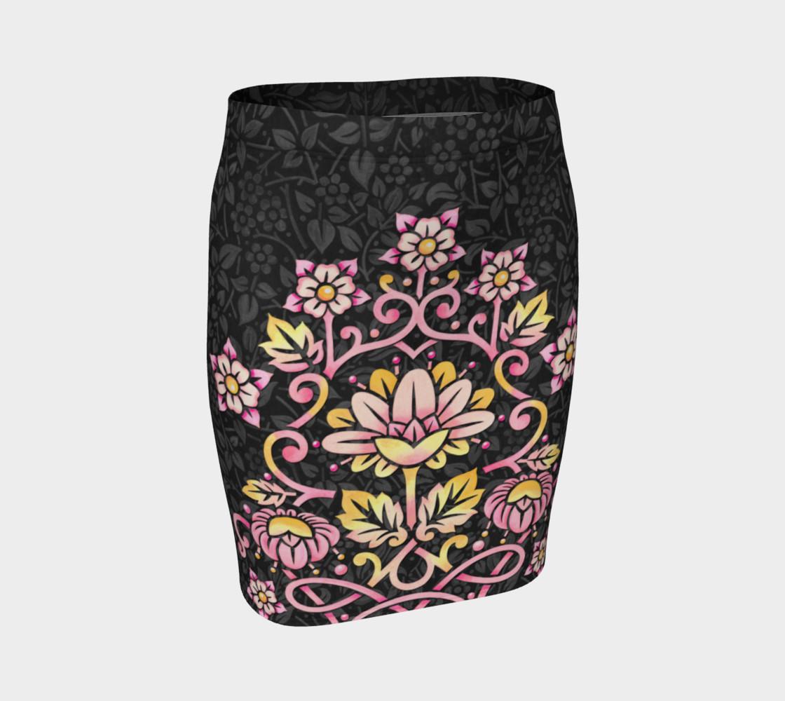 Aperçu de Rose Damask Fitted Skirt #1