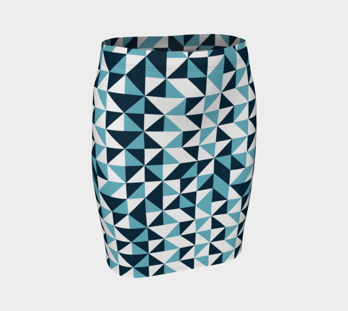 Blue Triangles Fitted Skirt preview #1