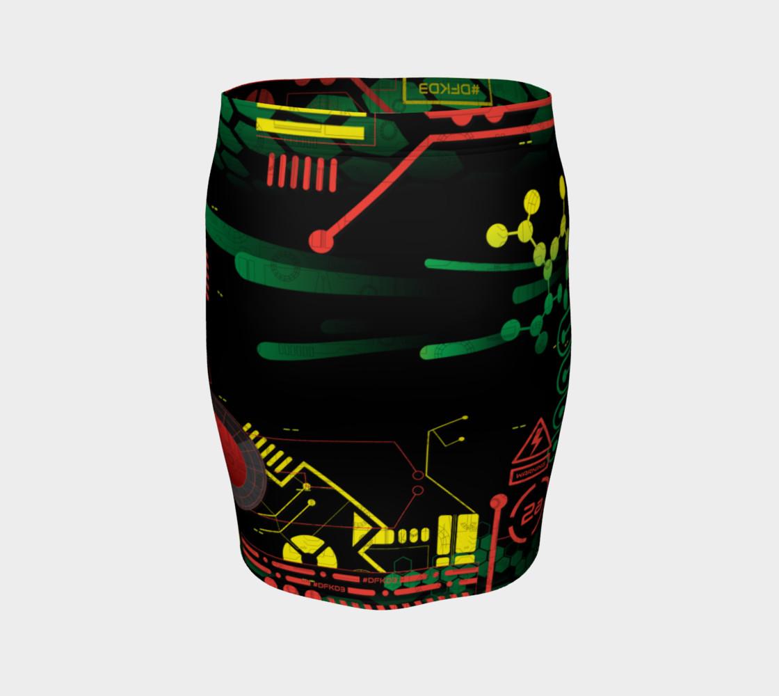 Aperçu de Futuristic Sci-Fi Techno Red Green Yellow Fitted Skirt #4
