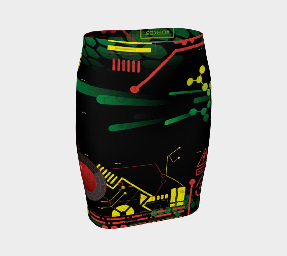 Aperçu de Futuristic Sci-Fi Techno Red Green Yellow Fitted Skirt #1