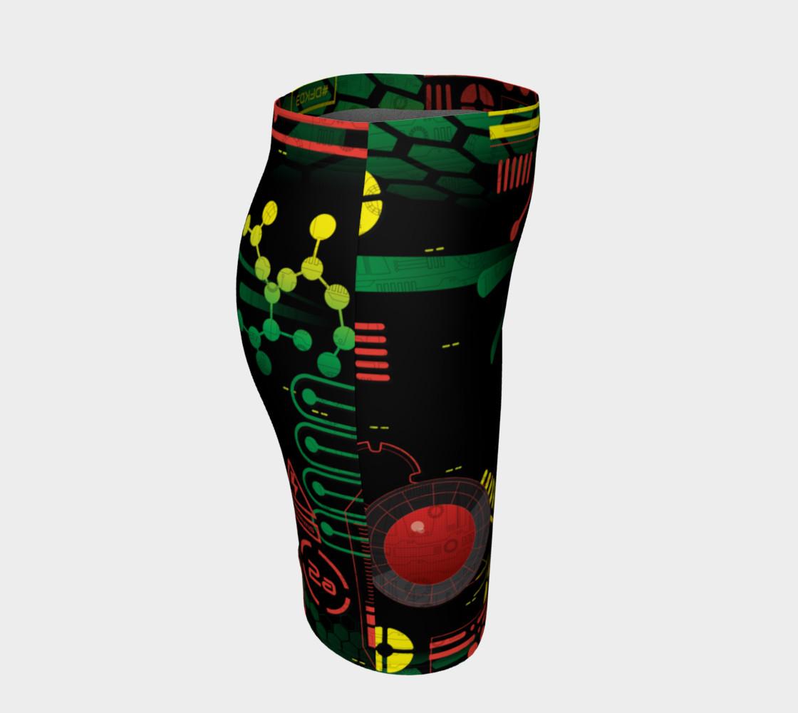 Aperçu de Futuristic Sci-Fi Techno Red Green Yellow Fitted Skirt #3