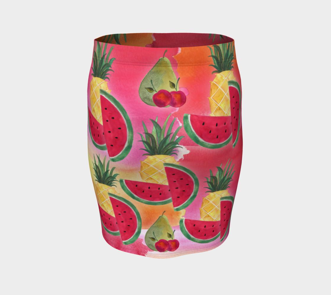 Aperçu de Watercolor Fruit Watermelon Pineapple Pear Cherry Fitted Skirt #4