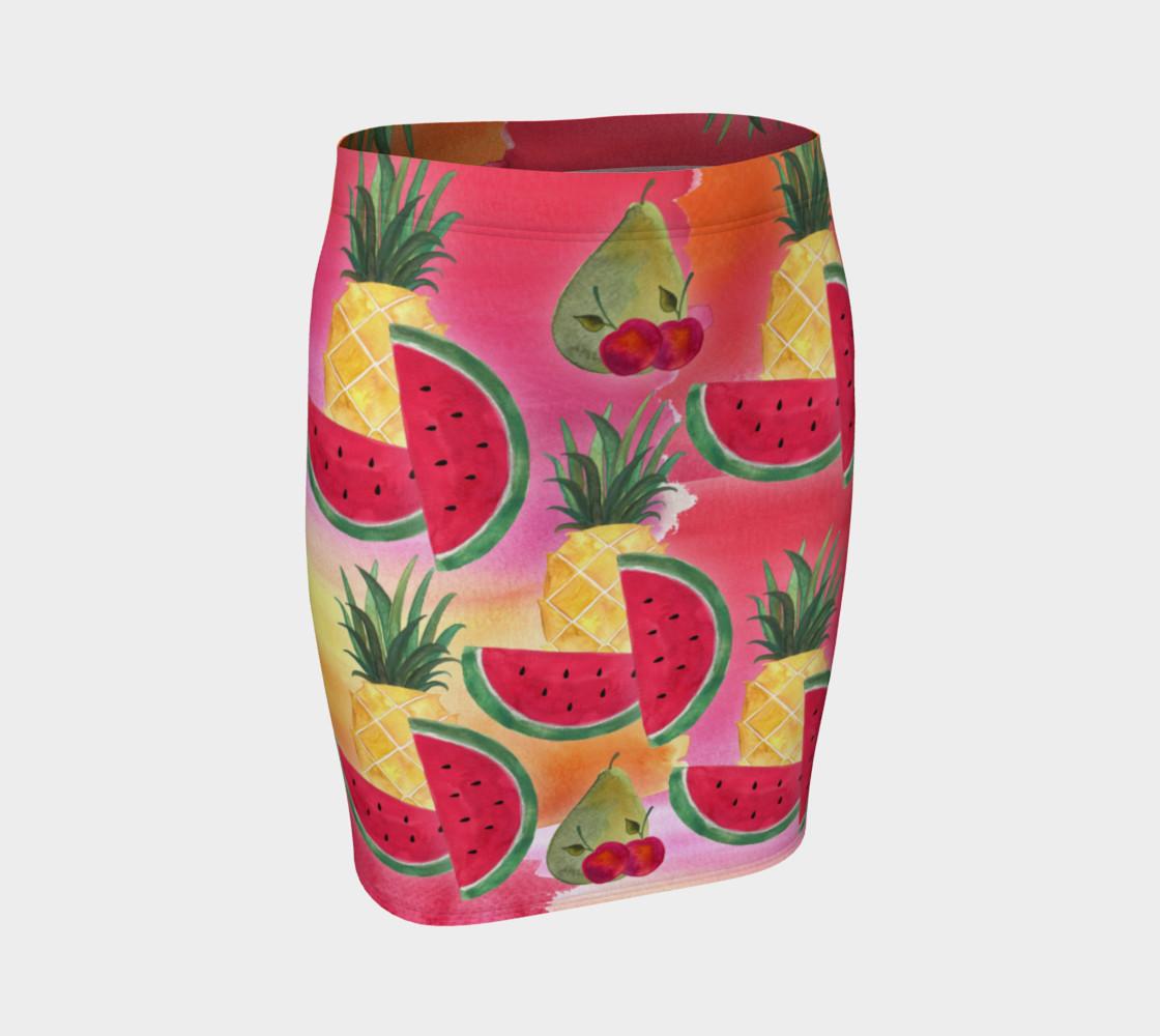 Aperçu de Watercolor Fruit Watermelon Pineapple Pear Cherry Fitted Skirt #1