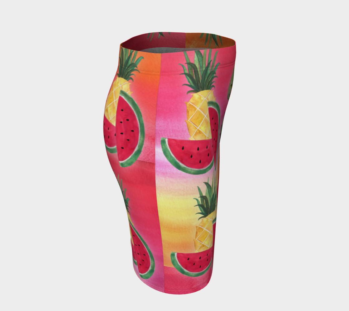 Aperçu de Watercolor Fruit Watermelon Pineapple Pear Cherry Fitted Skirt #3