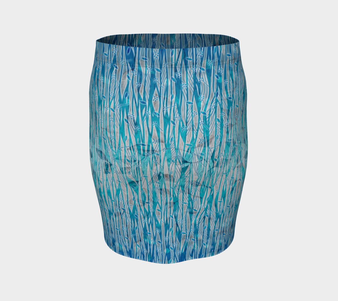Blue Turquoise Silver Leafy Floral Fitted Skirt preview #4