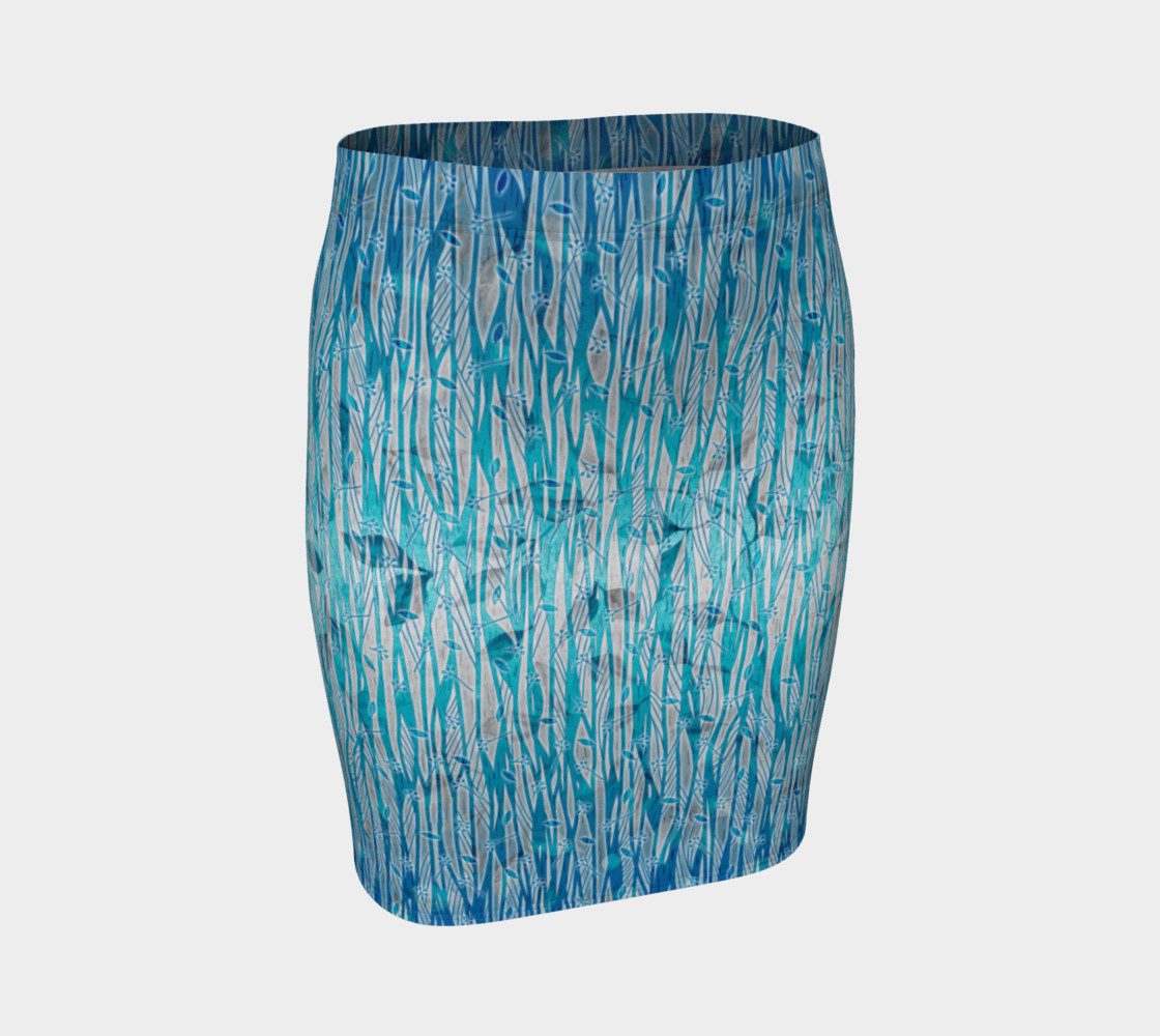 Blue Turquoise Silver Leafy Floral Fitted Skirt preview #1