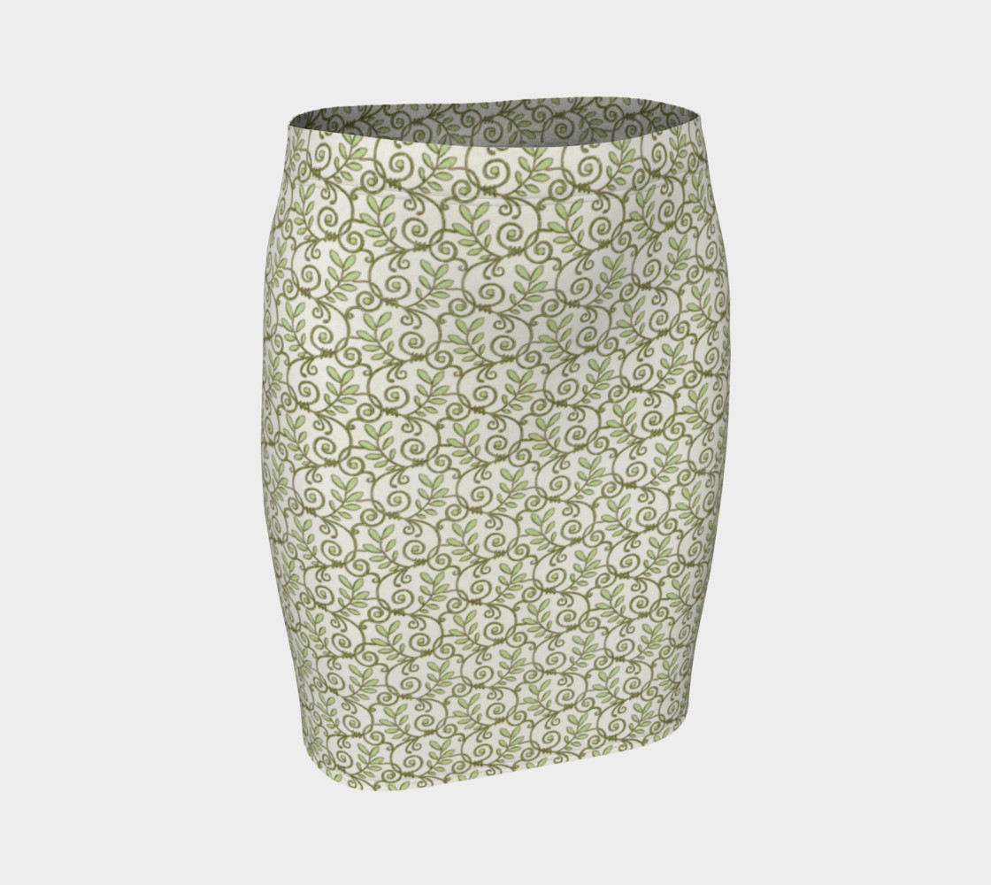 Green Cream Leafy Lace Floral Fitted Skirt preview #1