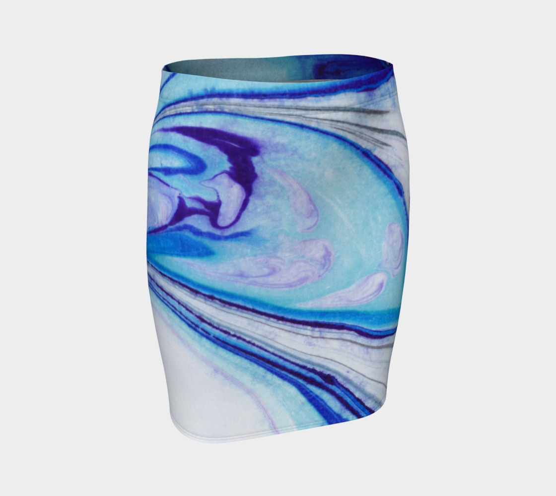 Blue Purple Marble Abstract - Pencil Skirt preview #1