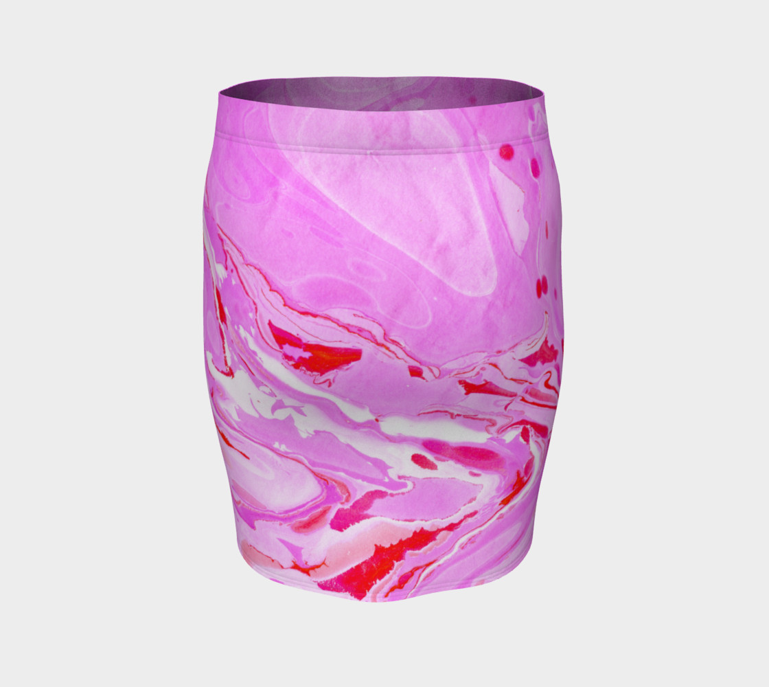 Pink Red Abstract Marble - Pencil Skirt preview #4