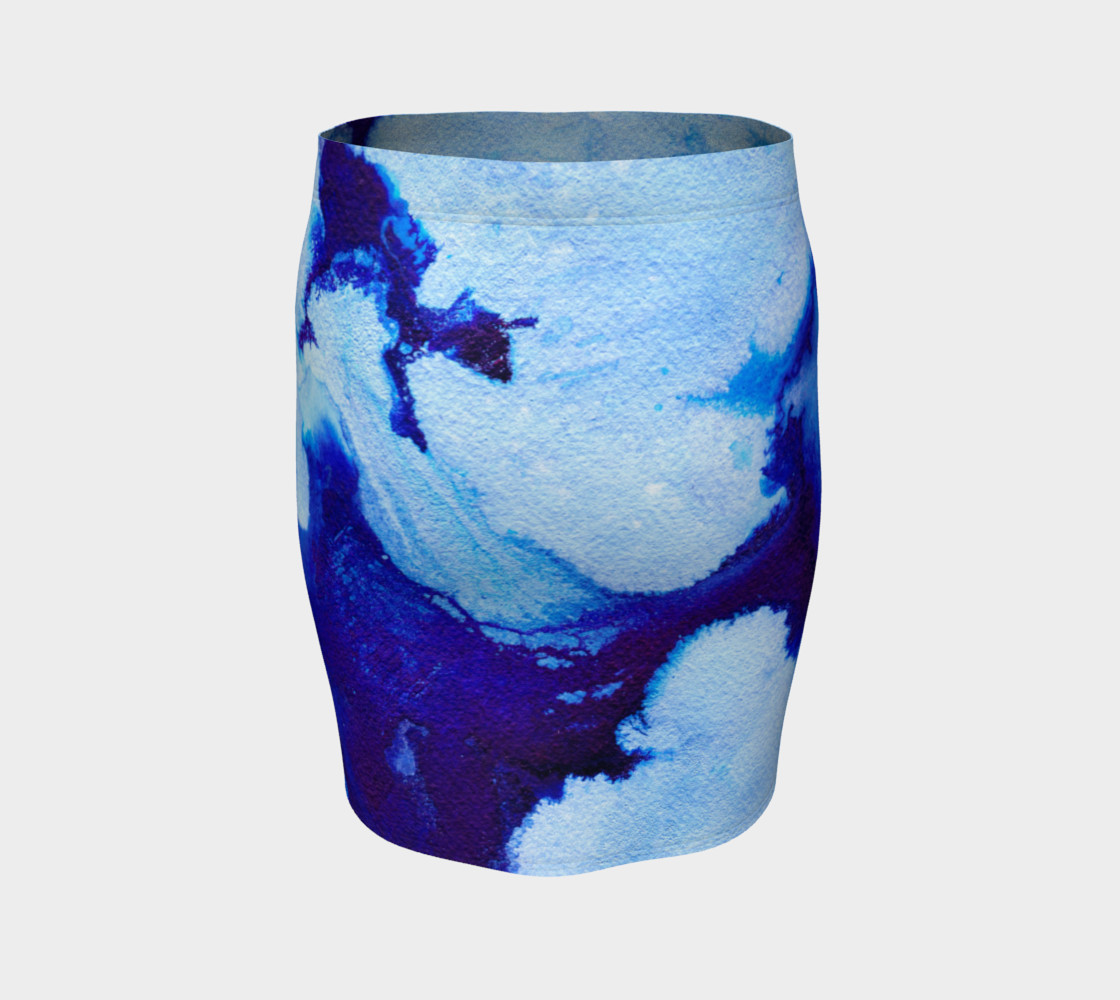 Aperçu de Blue Abstract Marble - Pencil Skirt #4