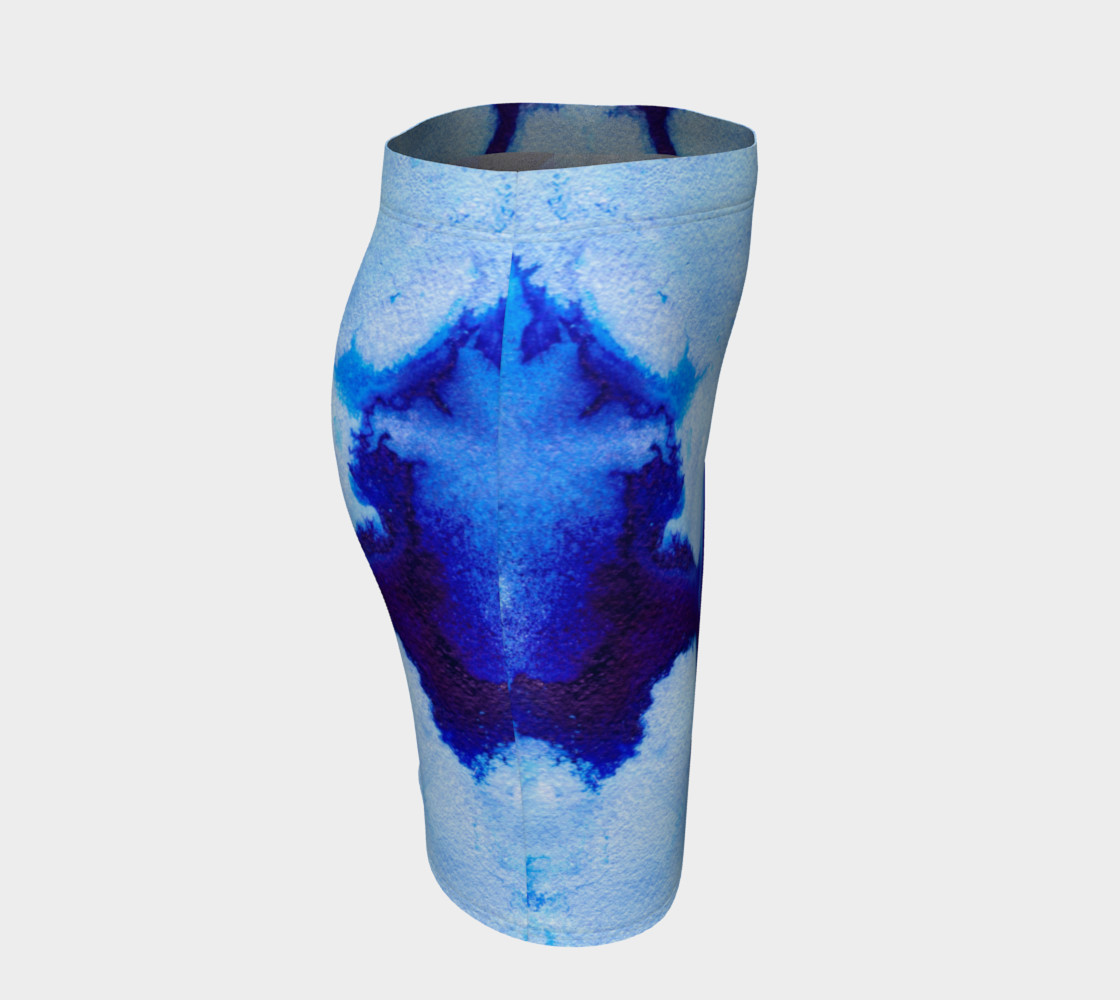 Aperçu de Blue Abstract Marble - Pencil Skirt #3