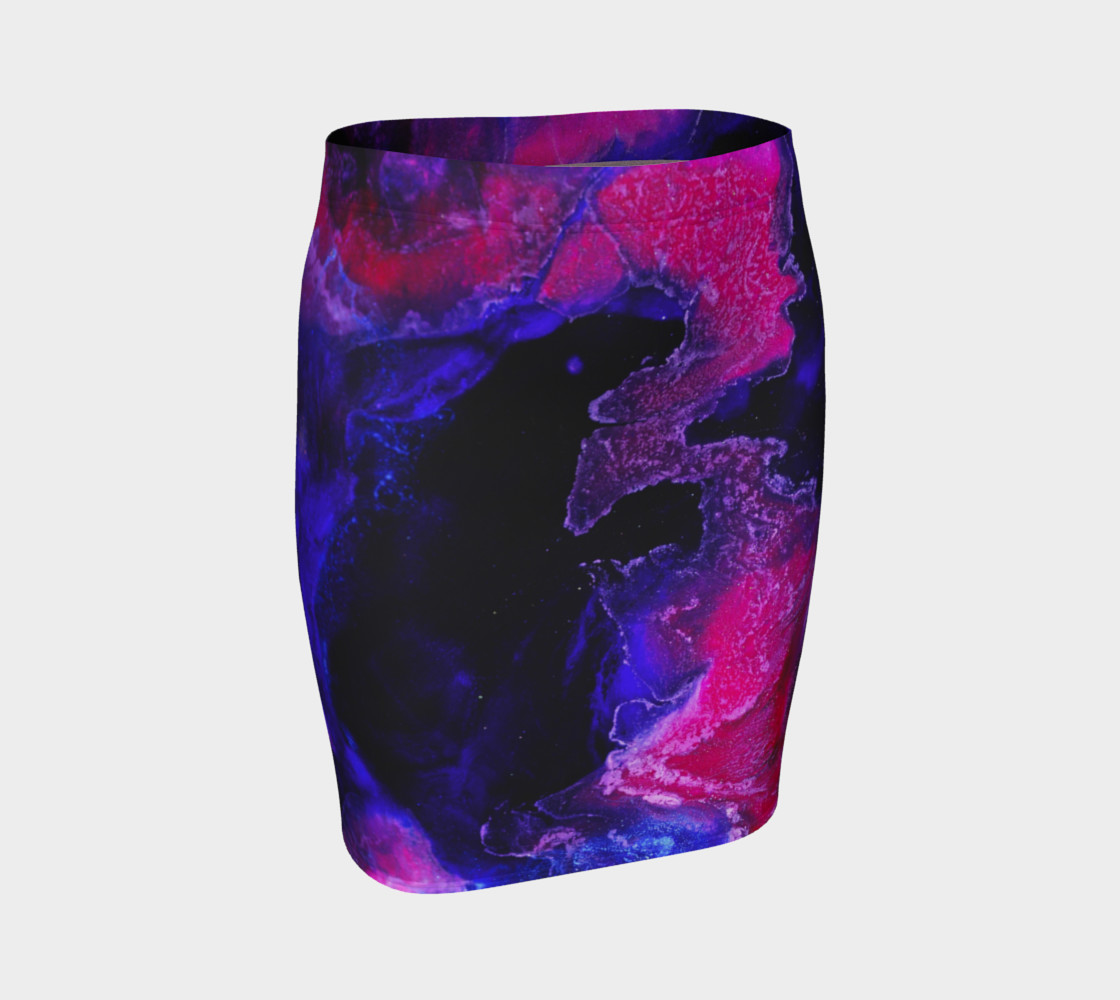 Pink Indigo Abstract Swirl Pattern - Pencil Skirt preview #1