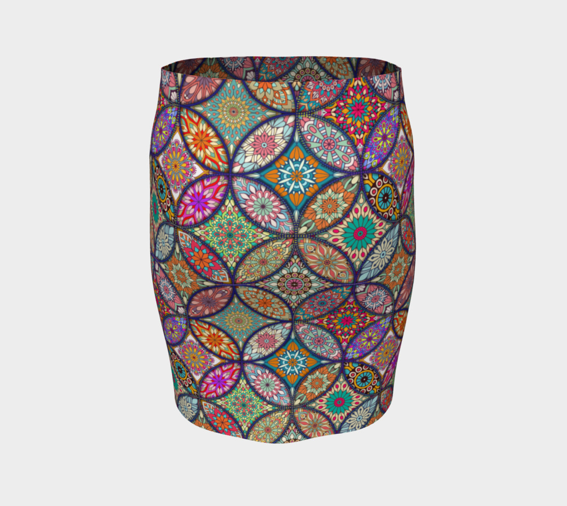 Vibrant Mandalas Fitted Skirt preview #4