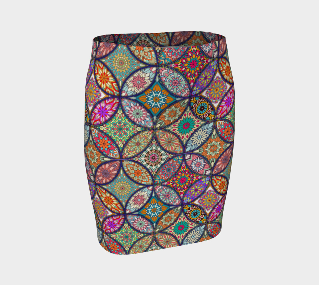 Vibrant Mandalas Fitted Skirt preview #1