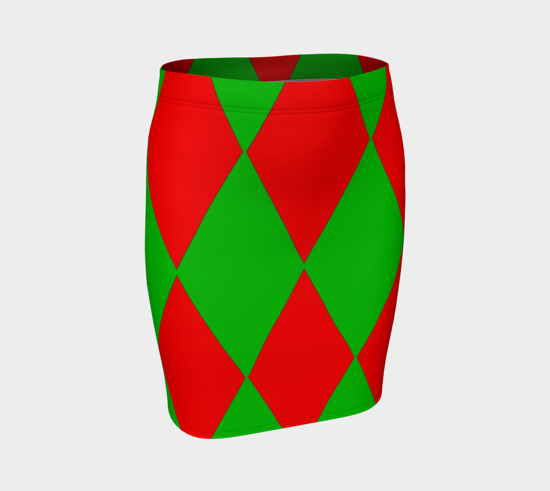 Christmas Harlequin Diamond Fitted Skirt preview #1