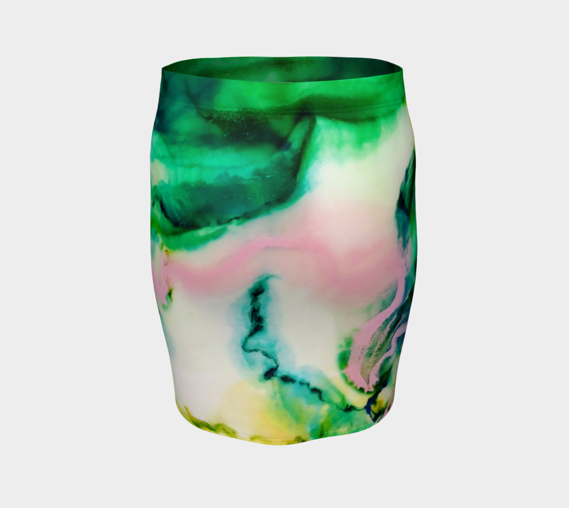 Green Pink Marble Abstract Painting - Fitted Skirt preview #4