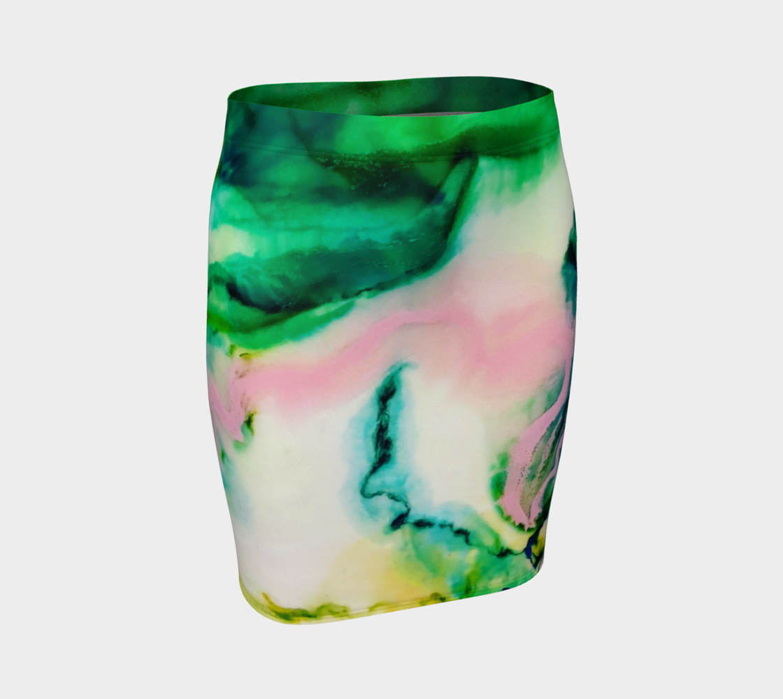 Green Pink Marble Abstract Painting - Fitted Skirt preview #1