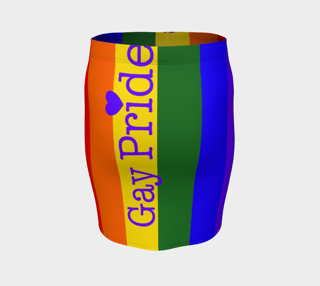 Gay Pride Love Fitted Skirt preview #4