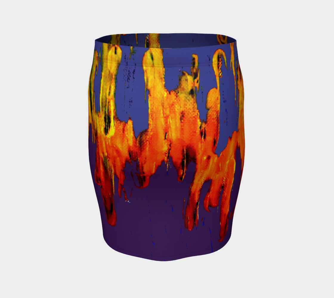 Lava in Purple and Orange Fitted Skirt preview #4